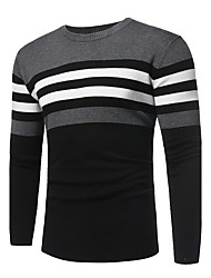 cheap -Men's Weekend Street chic Long Sleeve Cashmere Slim Pullover - Solid Colored / Striped / Color Block Round Neck