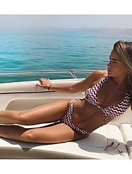abordables -Femme Rayé A Bretelles Bikinis Maillots de Bain Fleur Croisé décolleté Plongeant Rubans Rouge