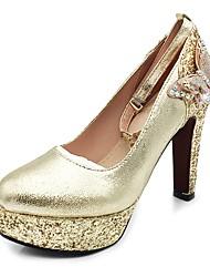 preiswerte -Damen Schuhe Glitzer Paillette Frühling Herbst Pumps High Heels Blockabsatz Plattform Runde Zehe Schleife Paillette Glitter Schnalle für