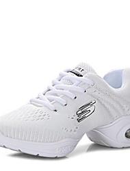 """cheap -Women's Dance Sneakers Knit Sneaker Outdoor Low Heel Red Black White 1"""" - 1 3/4"""""""