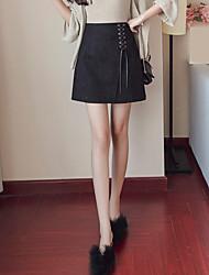 Damen Sexy Einfach Niedlich Hohe Hüfthöhe Ausgehen Lässig/Alltäglich Urlaub Mini Röcke A-Linie einfarbig Riemengurte Sommer