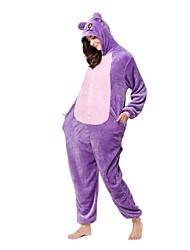 cheap -Kigurumi Pajamas Monkey Cat Onesie Pajamas Costume Flannel Toison Purple Cosplay For Adults' Animal Sleepwear Cartoon Halloween Festival