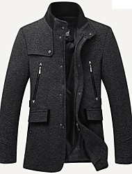Men's Daily Plus Size Simple Casual Winter Fall Trench Coat,Solid Stand Long Sleeve Long Cotton Acrylic Polyester