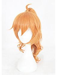 abordables -Hombre Pelucas sintéticas Medio Rizado Naranja Peluca con trenzas Con coleta Peluca de cosplay Pelucas para Disfraz