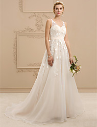 A-Line Princess V-neck Court Train Lace Organza Wedding Dress with Bow(s) Sashes/ Ribbons by LAN TING BRIDE®