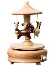 Music Box Toys Horse Carousel Wood Pieces Kids Unisex Birthday Gift