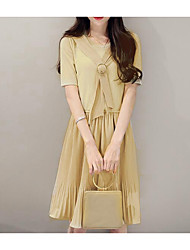Women's Casual/Daily Active A Line Dress,Solid Round Neck Knee-length Short Sleeve Rayon Polyester 100%Cotton Summer Mid Rise Stretchy