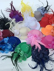 cheap -Tulle Feather Fascinators Flowers Hats Headwear with Floral 1pc Wedding Special Occasion Party / Evening Headpiece