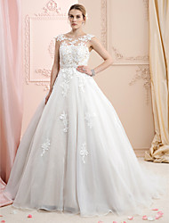 cheap -Ball Gown Illusion Neckline Court Train Lace Organza Wedding Dress with Appliques by LAN TING BRIDE®