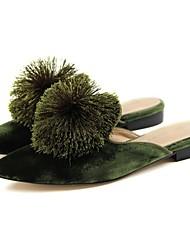 Недорогие -Для женщин Обувь Бархат Лето Удобная обувь Босоножки Башмаки и босоножки На плоской подошве Заостренный носок Пом пом Назначение