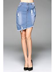 Damen Sexy Street Schick Ausgehen Lässig/Alltäglich Mini Röcke Bodycon,Jeansstoff einfarbig Sommer