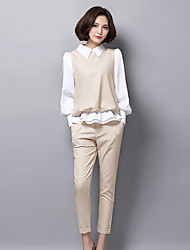 cheap -Women's Daily Work Casual Spring Fall Shirt Pant Suits,Color Block Shirt Collar Long Sleeve Spandex Inelastic