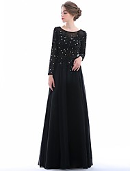 cheap -A-Line Scoop Neck Floor Length Chiffon Tulle Mother of the Bride Dress with Beading Appliques Crystal Detailing Pleats by LAN TING BRIDE®