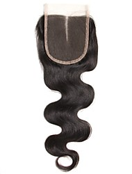 1 Piece 4x4 Peruvian Body Wave Lace Weave Closure Hair Unprocessed Remy Hair Bleached Knots Top Closures Middle Part