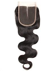1 pezzo 4x4 capelli peruviani del corpo del tessuto peruviano del corpo del tessuto del merletto dei capelli nodi nobili