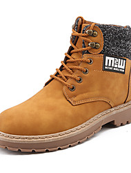 cheap -Men's Shoes Leatherette Fall Winter Cowboy / Western Boots Boots Booties/Ankle Boots Lace-up For Casual Office & Career Dark Brown Light