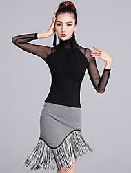 cheap -Latin Dance Outfits Women's Performance Modal Tulle Tassel(s) 2 Pieces Long Sleeve Natural Skirts Tops