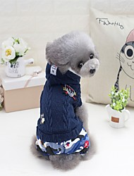 Cat Dog Coat Sweater Hoodie Jumpsuit Pajamas Christmas Dog Clothes Casual/Daily Keep Warm Halloween New Year's Letter & Number Pink Navy