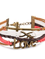 preiswerte -Damen Mehrlagig Anderen Unendlichkeit Lederarmbänder Wickelarmbänder - Liebe Mehrlagig Einstellbar Unendlichkeit Rot Armbänder Für Alltag