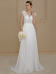 cheap -A-Line Princess Scoop Neck Sweep / Brush Train Chiffon Lace Custom Wedding Dresses with Appliques by LAN TING BRIDE®