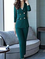 Недорогие -Для женщин Офис Осень Костюм Рубашечный воротник,Простой На каждый день Однотонный Обычная Длинные рукава,Полиэстер