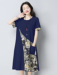 cheap -Women's Daily Loose Dress,Print Round Neck Midi Short Sleeves Polyester Summer Mid Rise Micro-elastic Thin