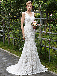 cheap -Mermaid / Trumpet V Neck Court Train All Over Lace Custom Wedding Dresses with Appliques by LAN TING BRIDE®