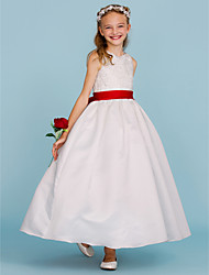 cheap -Ball Gown Ankle Length Flower Girl Dress - Lace / Satin Sleeveless Crew Neck with Beading / Bow(s) / Sash / Ribbon by LAN TING BRIDE®