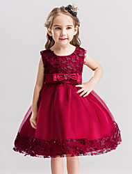 Princess Knee Length Flower Girl Dress - Satin Sleeveless Jewel Neck by Bflower