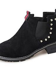 Недорогие -Для женщин Обувь Нубук Полиуретан Осень Удобная обувь Модная обувь Ботинки На низком каблуке На толстом каблуке Круглый носок Ботинки На