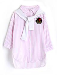 abordables -Camisa Chica Rayas Algodón Mangas largas Otoño Rosa
