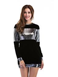economico -T-shirt Da donna Casual Serata Vintage Moda città Primavera Autunno,Monocolore Rotonda Poliestere Manica lunga Medio spessore