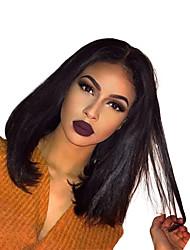 Недорогие -Натуральные волосы Бесклеевая кружевная лента Лента спереди Парик Индийские волосы Прямой Парик Стрижка боб 130% Плотность волос с детскими волосами Природные волосы Для темнокожих женщин Жен.