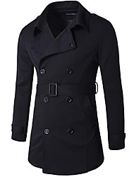 Men's Going out Casual/Daily Street chic Fall Winter Trench Coat,Solid Peaked Lapel Long Sleeve Long Cotton