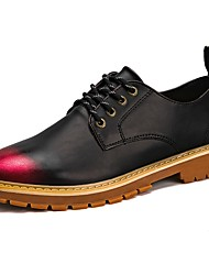 cheap -Men's Shoes PU Spring Fall Comfort Oxfords Lace-up For Casual Black/Red Black/Silver Black/Gold