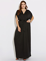 cheap -Women's Plus Size Street chic Sheath Dress - Solid Colored Ruched Maxi V Neck / Summer / Fall