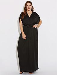 Feminino Bainha Vestido,Casual / Tamanhos Grandes Simples / Moda de Rua Sólido Decote V Longo Manga CurtaAzul / Vermelho / Branco / Preto