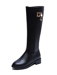 Women's Shoes PU Fall Winter Comfort Boots Flat Heel Knee High Boots For Casual Black