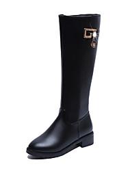 Feminino Sapatos Couro Ecológico Outono Inverno Conforto Botas Rasteiro Botas Cano Alto Para Casual Preto