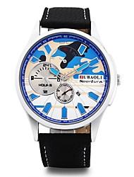 baratos -JUBAOLI Homens Quartzo Relógio de Pulso Chinês Mostrador Grande Lega Couro Banda Amuleto Relógio Criativo Único Preta