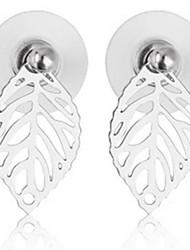 Недорогие -Жен. Серьги-гвоздики Бижутерия На заказ Мода Сплав В форме листа Бижутерия Золотой Серебряный Повседневные Бижутерия
