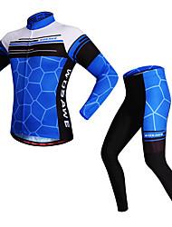 WOSAWE Maglia con pantaloni da ciclismo Unisex Manica lunga Bicicletta Set di vestiti Striscia riflettente Asciugatura rapida Elastico