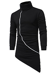 Sweatshirt Homme Sports Vacances Décontracté / Quotidien Couleur Pleine énorme Col Roulé Micro-élastique Coton Manches longues Automne