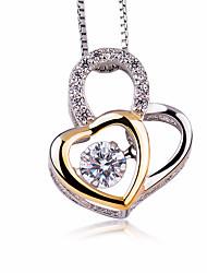 Femme Pendentif de collier Zircon cubique Forme de Coeur Argent sterling Zircon Mode Bling Bling Bijoux Pour Soirée