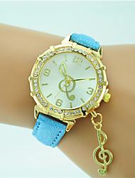 baratos -Mulheres Relógio de Moda / Relógio de Pulso Com Strass Couro Banda Casual Preta / Branco / Azul / Um ano / Tianqiu 377