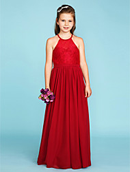 cheap -A-Line / Princess Jewel Neck Floor Length Chiffon / Lace Junior Bridesmaid Dress with Sash / Ribbon / Pleats by LAN TING BRIDE® / Wedding Party