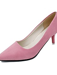 Women's Shoes PU Fall Comfort Heels Kitten Heel Pointed Toe For Casual Dress Blushing Pink Light Grey Dark Grey Black