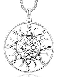 cheap -Women's Sunflower Personalized Pendant Necklace Sterling Silver Pendant Necklace , Birthday