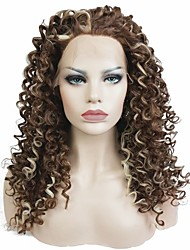 Women Synthetic Wig Lace Front Long Kinky Curly Brown Highlighted/Balayage Hair Celebrity Wig Natural Wigs Costume Wig