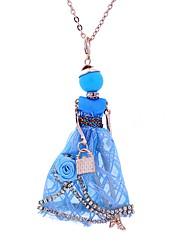 baratos -Mulheres Boêmio Princesa Renda Colares com Pendentes  -  Boêmio Estilo simples Branco Azul Escuro Rosa claro Colar Para Festa Casual